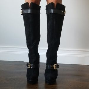 Black velvet and leather knee high boots